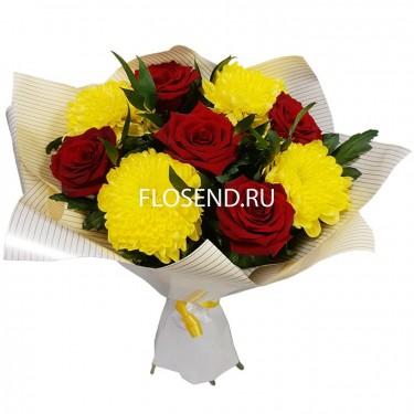Букет 5 роз и 4 хризантемы